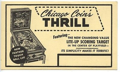 Thrill Chicago Coins Pinball Machine Advertising Feather Touch Postal Postcard