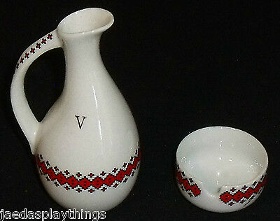 Ukrainian Pottery Small Decanter Ashtray Made in Canada Red White FREE US Ship