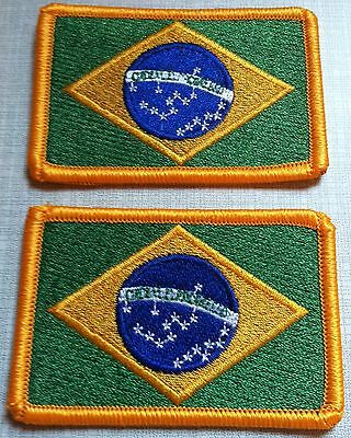 2 BRAZIL Flag Embroidered Iron-On Emblem Tactical Patch Gold Border