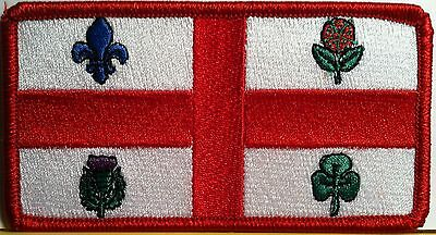 Montreal Canada Flag Embroidered Iron-On Patch Military Emblem Red Border