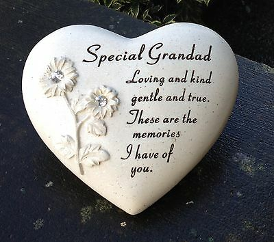 Memorial For Special Grandad Heart Shaped Grave Ornament Funeral Tribute