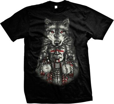 Native American Indian Chief Wolf Head Spirit Animal -Mens T-shirt
