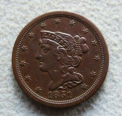 1851 Copper Half Cent Braided Hair Coin About Uncirculated Condition