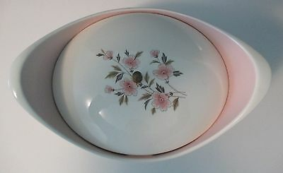 Vintage Taylor Smith Taylor Wild Quince Oval Covered Casserole 1.5 Qt Pink White