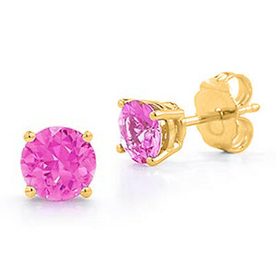 0.50 - 4.00 CT. 14K SOLID YELLOW GOLD PINK SAPPHIRE ROUND CUT STUD EARRINGS PUSH