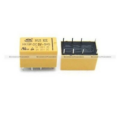 10 x DC 5V Coil DPDT 8 Pin 2NO 2NC Mini Power Relays PCB Type HK19F IND010