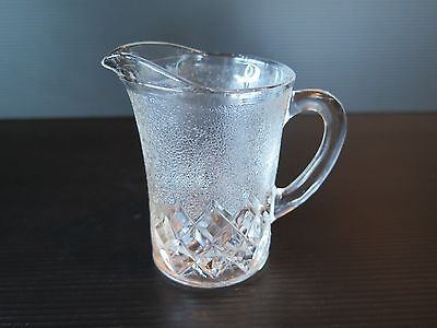 Small Frosted Glass Jug With Diamond Pattern