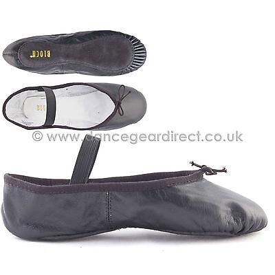 Ballet Shoes-Black Leather Full Sole with attached elastics Bloch Arise S0209