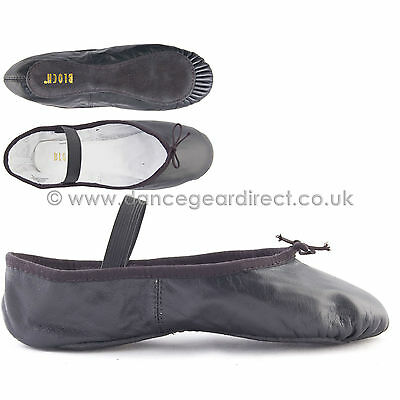 Bloch Black Leather Full Sole Ballet Shoes with attached elastics Arise S0209