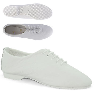 White Leather Full Sole Jazz Shoes Dance Childs Ladies Adults By Dance Gear JSRW