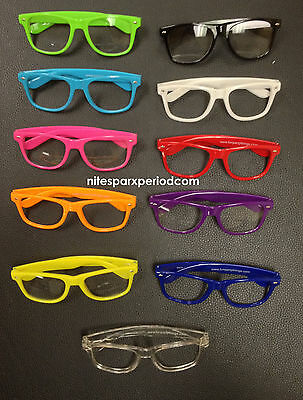 CLEAR WAYFARER GLASSES SEXY COOL NERD FRAME RETRO HIPSTER RAVES PARTY FAVORS