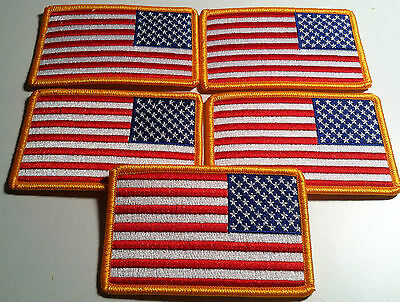 LOT OF 5 USA FLAG LEFT BIKER Iron On Patch  AMERICAN Emblem Gold Merrow Border