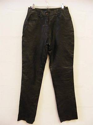 WOMENS GENUINE BLACK SOFT LEATHER TROUSERS by LOUIS (W28 L32)