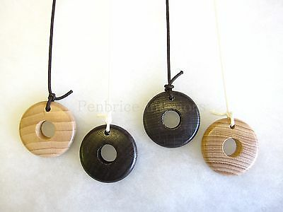Ring bathroom light cord pull - Natural wood wooden string end - Includes cord