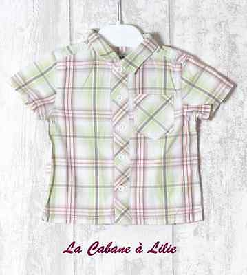 ♥ Chemise Blanc Vert Anis Rouge Taupe Manche Courte TAPE A L'ŒIL 9 Mois ♥ F33