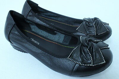 Women Comfortable Soft Leather Flats Slip on Casual Work Ribbon Ballet Shoes LR