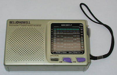 Vintage Bell & Howell 9 Band World Receiver Transistor Radio MW.SW1-7