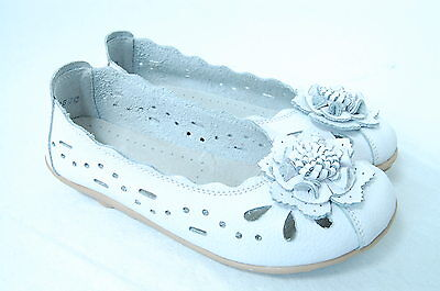 Women's Comfortable Soft Genuine Leather Flats Slip on Shoes Flower WHITE