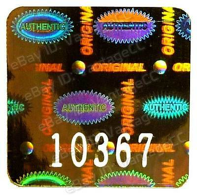 """ORIGINAL AUTHENTIC"" Hologram Stickers, NUMBERED 20mm Square Labels, Warranty"