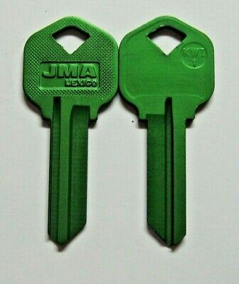 2 Green Blank House Keys For 5 Pin Kwikset Lock Kw1 Can Be Punched To Your Code