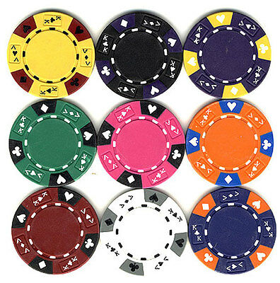 100 14 gr Clay Tri-Color Ace/King Poker Chips 9 Colors to Choose FREE SHIPPING *