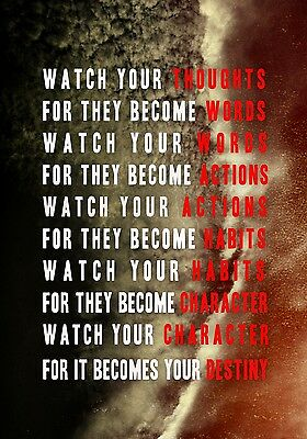 New Watch Your Thoughts Motivational Inspirational Wall Art Photo Print Poster