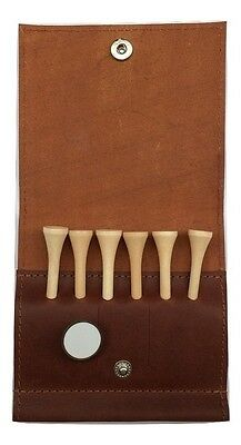 Genuine Brown Leather Golf Tee and ball marker wallet option to personalise it