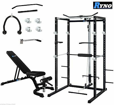 Ryno™ Ultimate Power Rack Cage With Weight Bench Combo Deal - Squat Rack Pull Up
