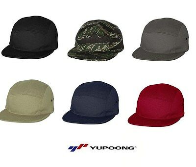 Yupoong - Jockey Flat Bill Cap 100% cotton 5 panel Jockey style Men's Hat 7005