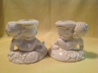Antique Pair Candle Holders Candlestick Cherub Germany SIGNED and Numbered