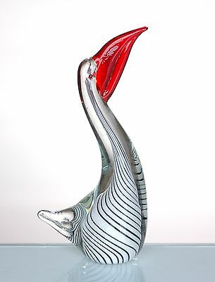 "12"" Hand Blown Glass Art Style Pelican Bird Figurine LG Large White Red"
