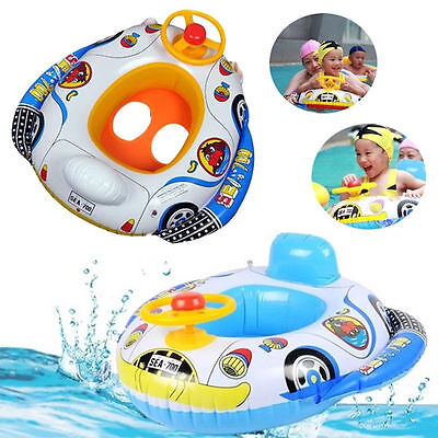 Baby Kids Inflatable Pool Swim Ring Float Boat Seat Swimming Aid with Wheel Horn