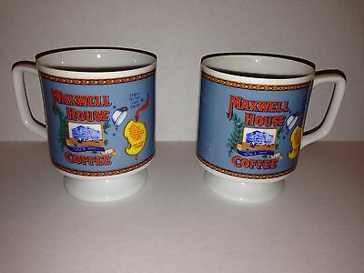 Set of 2 Maxwell House Footed Small Coffee Cups Good to the Last Drop