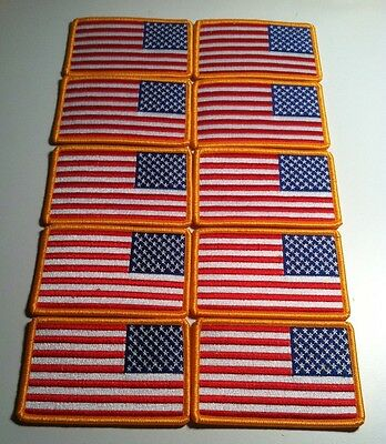 20 USA Flag LEFT Iron-On Patch Embroidered AMERICAN ARMY Military Gold Border