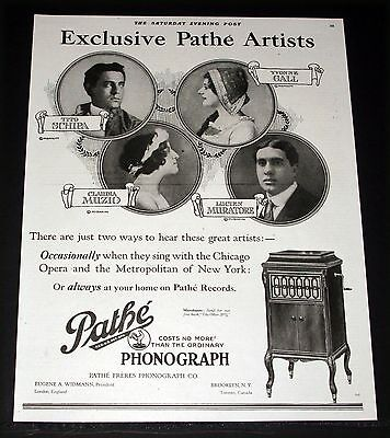1920 Old Magazine Print Ad, Pathe' Phonographs, Exclusive Artists, Yvonne Gail!