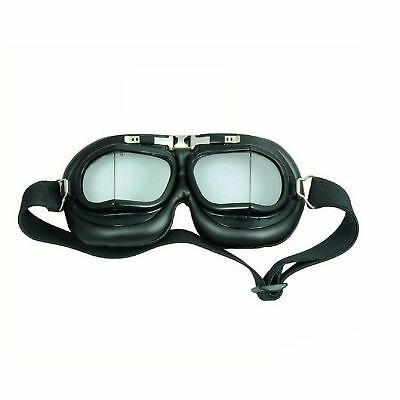 Red Baron Pilot Aviator Flying Goggles - Vintage Motorcycle Cafe Racer - Black
