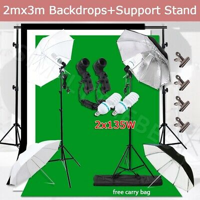 Photography Photo Studio Umbrella Video Lighting Light Screen Backdrop Stand Kit