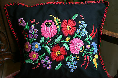Beautiful Vintage Colorful Hand Embroidered Floral Pillow Cover Sham