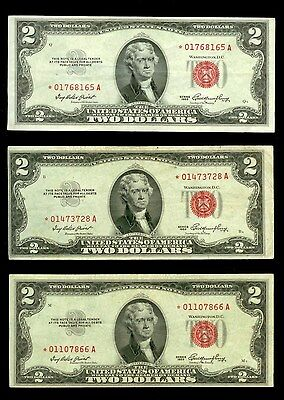 (3) 1953 Series $2 Dollar United States Legal Tender Xf Star Notes  Fr #1509*