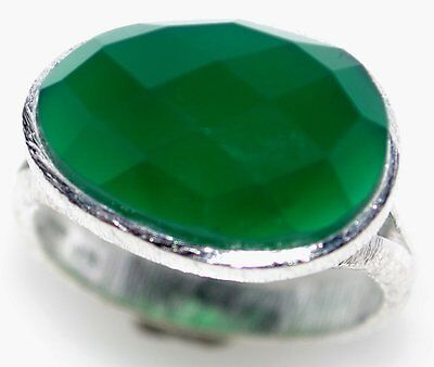 Sterling SILVER Rings Emerald Green Faceted Gemstone 925 Ring Size 5½, L to 12