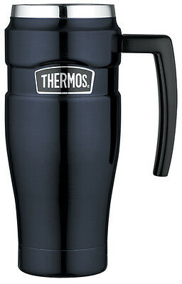 Thermos 500ml St/Steel Vacuum Insulated Travel Mug with Handle - Midnight Blue
