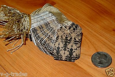 LOT 100 Distressed Damask Print 1.5 X 1 Paper Merchandise Price Tags with String