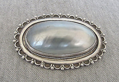 Vintage Mother Of Pearl Filigree Silver Sterling Pin Brooch Pendant