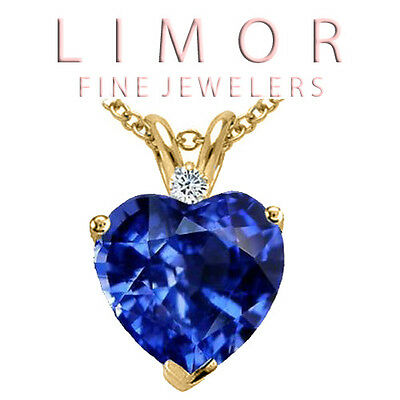 1.80 Carat 14K Solid Yellow Gold Heart Shape Blue Sapphire Just Pendant
