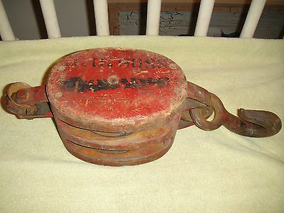 Antique Nautical Ship Block Wood Pulley-Western Lock Co.-13.8LBS-Nautical Decor
