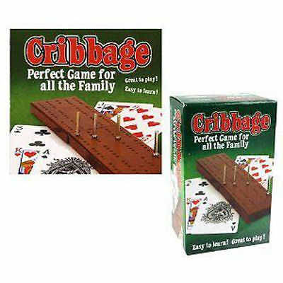 Wooden Cribbage Crib Board And Playing With Cards Set Pegs Family Game Classic