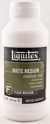 Liquitex Fluid Matte Medium Acrylic Paint Extender Fixative Ground 237 mL 8 oz