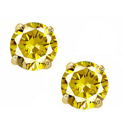 14K Solid Yellow Gold November Canary Round Shape Screw Back Stud Earrings