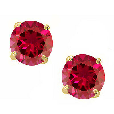 14K Solid Yellow Gold Red Ruby Round Shape w/ Screw Back Stud Earrings