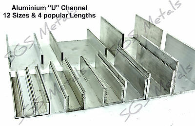 Extruded Aluminium U CHANNEL C Profile - 12 Sizes & 4 Lengths Available